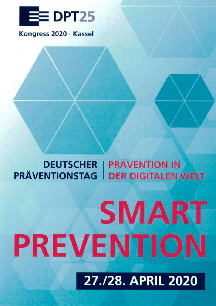 """Einladungskarte des diesjährigen Präventionstags. """"Deutscher Präventionstag - Prävention in der digitalen Welt - Smart Prevention - 27./28. April 2020"""""""