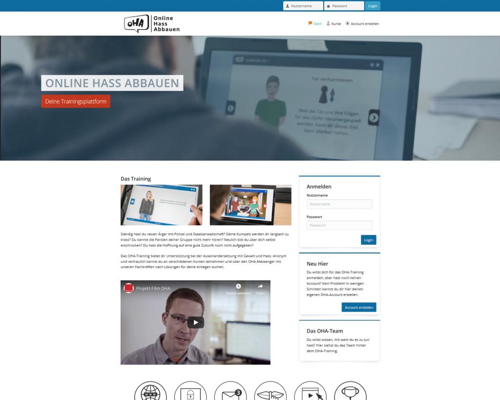 Screenshot Landingpage Online-Training