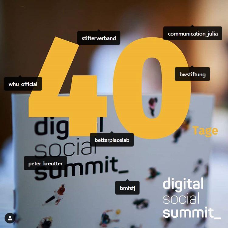 """Instagramposting vom Digital Social Summit. """"Noch 40 Tage"""" mit zahlreichen Verlinkungen."""