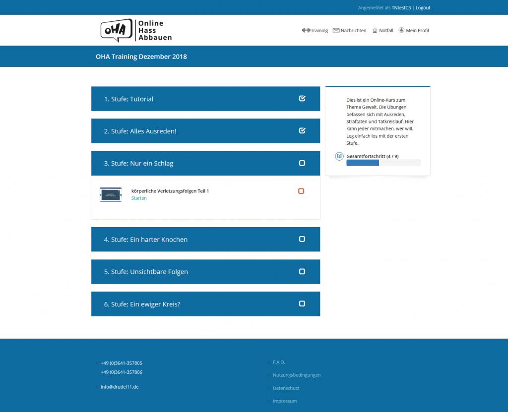 Screenshot Trainingsstruktur