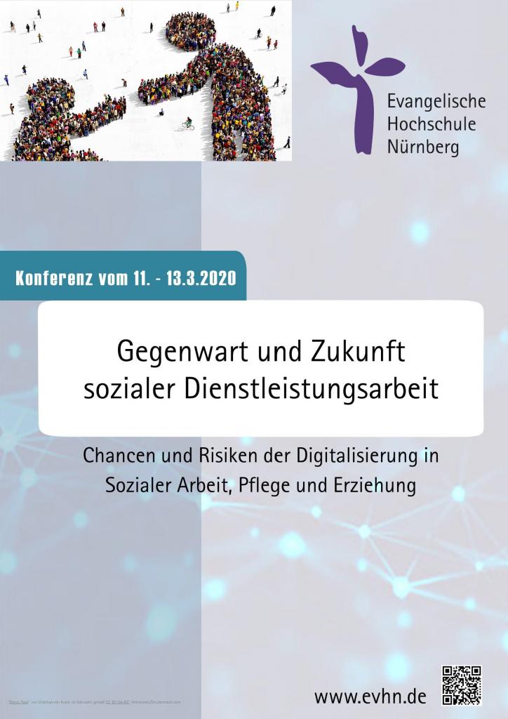 """Erste Seite des Konferenzprogramms. """"Konferenz vom 11.-13-3-2020 - Gegenwart und Zukunft sozialer Dienstleistungsarbeit - Chancen und Risiken der Digitalisierung in Sozialer Arbeit, Pflege und Erziehung"""""""