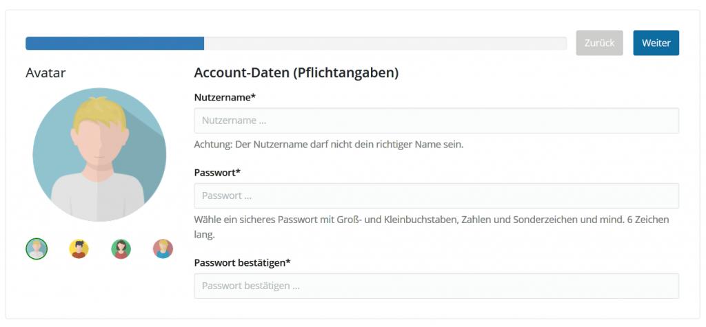 Screenshot der Registrierungs-Maske.