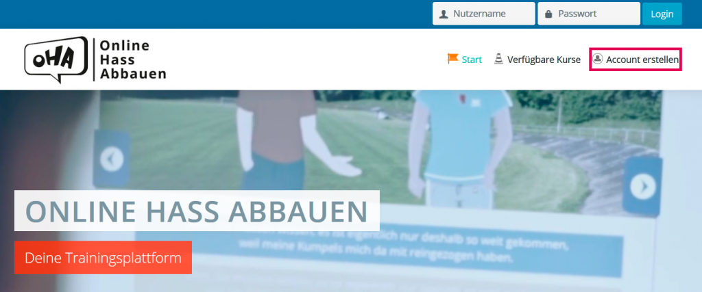 Screenshot der Trainingsseite. Ein roter Rahmen zeigt, wo man seinen Account selbst erstellen kann.